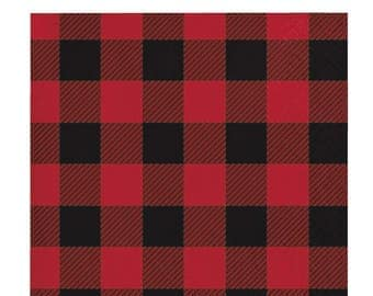 16 CT Plaid Small Paper Napkins/ Buffalo Plaid Paper Napkins/ Lumberjack Party Napkins/ Red and Black Plaid Party