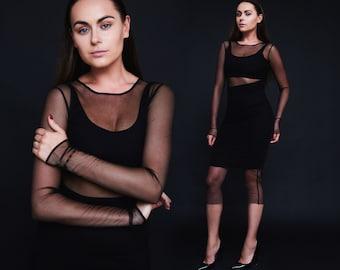 Black mesh dress black mesh top long sleeved black mesh dress viscose dress handmade black mesh dress knee length black mesh dress