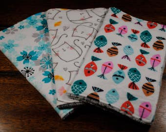 Cat, Fish and Teal Flowers Print Baby Washcloths, Set of 3 Snuggle Flannel and Chenille Washcloths, Ultra soft, Great baby shower gift