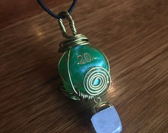 Green Quartz D20 necklace