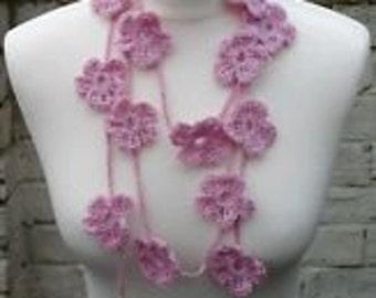 Beautiful Rose Pink Crochet Flower Lariat