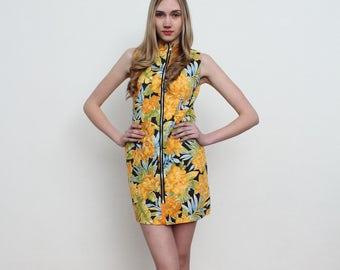 Yellow Multi Color Mini Body Zip Dress/ Size S/M