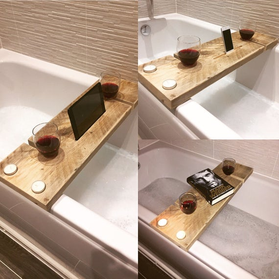 Handcrafted Rustic Wooden Bath Caddy With 2 X Wine Glass