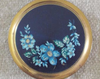 Vintage brass and blue floral powder compact