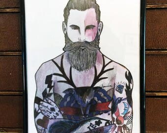 bearded tattooed man fashion illustration
