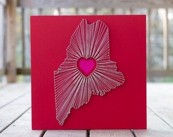 Heart of Maine String Art - Red, Silver and Pink