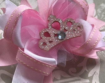 Princess pink stacked hair bow