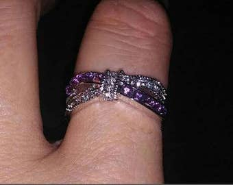 Sterling silver ring with purple cubic zirconium