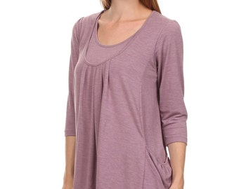 Adria Maternity and Nursing Pocket Tee in Mauve