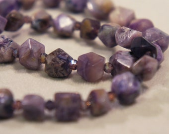 Genuine Charoite Bracelet Semi Precious Stone Gemstone Healing Crystal Chakra Metaphysical Gift