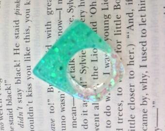 Resin Glitter Ring- Aqua Size 6