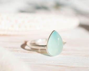 Aqua Chalcedony Ring ~ Sterling Silver 925 ~ Handmade ~ Gemstone ~ Thin ~ Stacking ~ Hippie ~ Gypsy ~ Boho ~ Bohemian~Tear Drop ~Blue ~MR072