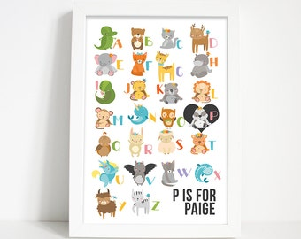 Alphabet print, Personalised print, Nursery wall art, Animal print, Nursery decor, Nursery print