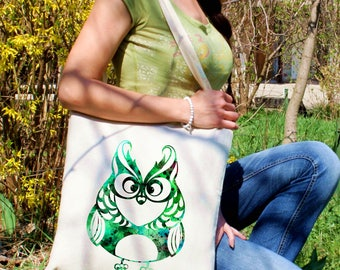 Green bag -  Owl shoulder bag - Fashion canvas bag - Colorful printed market bag - Gift Idea