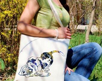 Cute dog tote bag -  Dog shoulder bag - Fashion canvas bag - Colorful printed market bag - Gift Idea