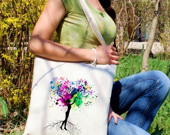 Beautiful silhouette tote bag -  Beautiful woman shoulder bag - Fashion canvas bag - Colorful printed market bag - Gift Idea