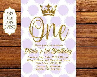 Purple and Gold Invitation, Gold glitter & pink polka dots birthday invitation, First Birthday Invitation, Gold Crown 082