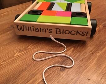 Personalised Building Blocks in pull along Cart
