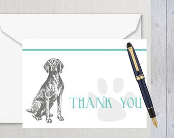 Thank you cards with envelopes - Pet - Weimaraner - Blank inside - Folded - Dog