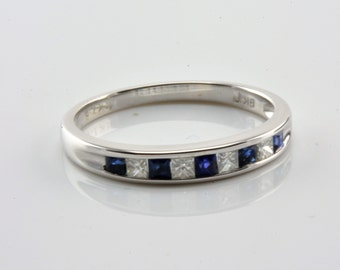 Fine Engagement Ring Diamonds & Sapphires Solid White Gold 750