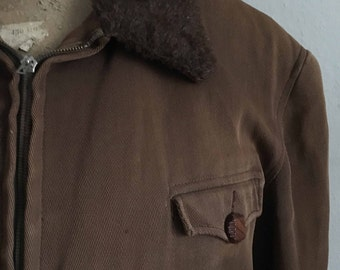 Vtg 40s Jacke mit Fellkragen, Größe L, used