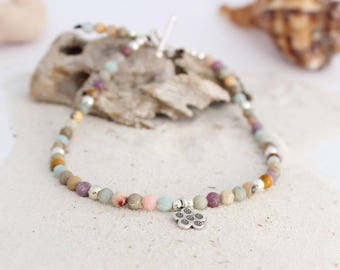 Flower gemstone anklet