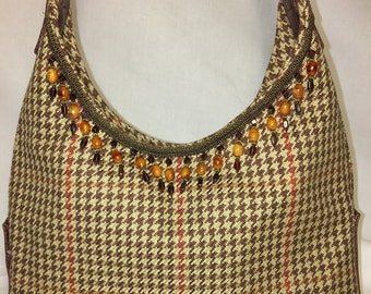 Brown Houndstooth Handbag with Beaded Trim