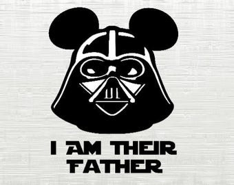 Darth Vader svg, star wars , darth vader mickey ears, I am their father, Starwars svg,cutfiles, cameo, silhouette, cricut,