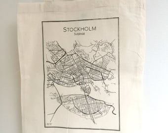 Tote bag screen printed handmade STOCKHOLM - 100% cotton