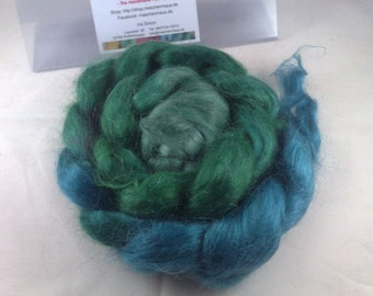 Mohair roving top of fibres hand dyed hand dyed 100 g