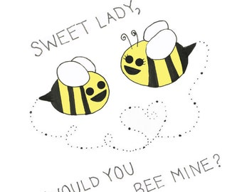 Would You Bee Mine Valentine Greeting Card