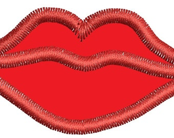 Lips applique machine embroidery design, instantly download