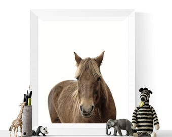 Horse Photograph Printable Art | Horse Photo | Nursery Decor | Brown Horse Print | Horse Art  Print | Instant Download