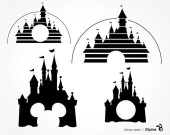 Disney svg files, Disney clipart, Disney castle svg, castle clipart, monogram frame silhouette svg eps png dxf pdf Cut Print Mug Shirt Decal