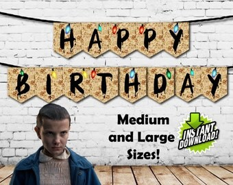Stranger Things Happy Birthday Banners