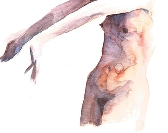 What Came First? – Small Original Watercolor Figure Painting On Paper