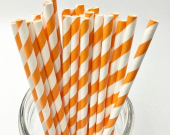 Orange Paper Straw Pack