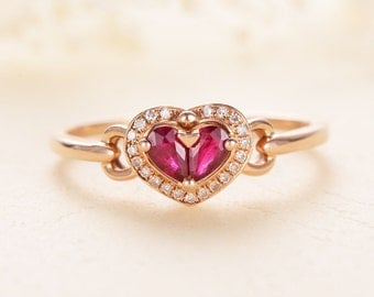 Antique Ruby Ring Pear Shaped Engagement Ring Rose Gold Diamond Halo Heart shaped Promise Anniversary Cluster Multistone Love Knot Ring