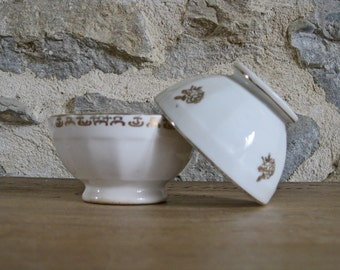 white coffee bowls with gilded flowers, 2 French cafe au lait bowls