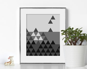 Black and White Triangle Art Digital Download Printable Art Video Game Tetris Print Wall Prints Geometric Print Soothing Designs Digital