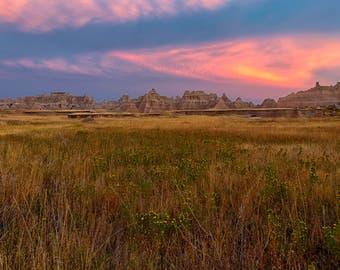 Badlands National Park Sunset, Mountain Landscapes