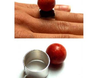 Silver ball, red coral, Matt sterling silver 925 ring, adjustable, red coral, new handmade