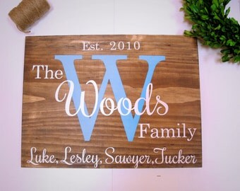 Custom Family Sign - Wood- Rustic- Personalized- Initial- Housewarming- Wedding - Engagement