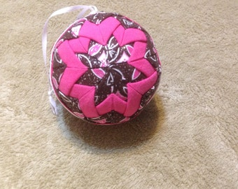 hot pink and brown/pink quilted ornament with silver flecks