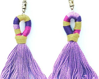 Purple Gold Tassel Earrings Fringe Earrings