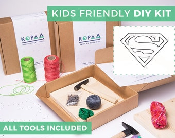 Kids friendly DIY SUPERMAN string art kit, kids craft kit, all tools included, cool gift for kids