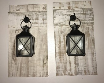 Pallet Sconce With Lantern (Set of 2)