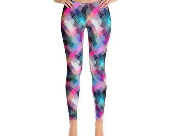 Womens Leggings, Printed Leggings, Colorful Leggings, Geometric Leggings, Yoga Leggings, Pink, Blue and Black Leggings, Workout Leggings