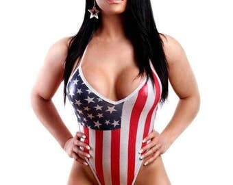 Patriotic Women's American Flag One-Piece Swimsuit Bikini Monokini, Thong Swimsuit, Swimwear, Sexy Swimsuit, Sexy Flag Bikini
