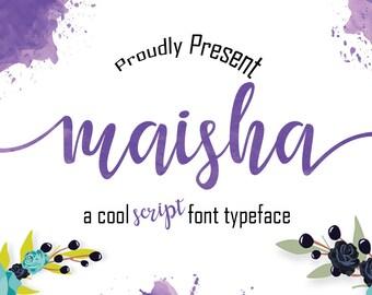 Font Maisha Script, Calligraphy, Hand Lettering, Wedding, Handmade, Typography